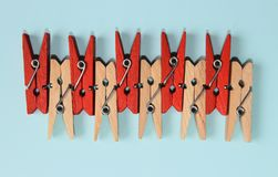 Studio Shot of a Wooden Peg.Colored Clothespegs. Stock Photography