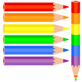 Set of colored pencil, a rainbow pencil near Royalty Free Stock Photography
