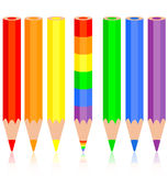 Set of colored pencil, a rainbow pencil near Royalty Free Stock Image