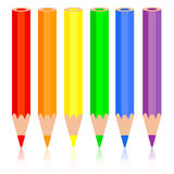 Set of colored pencil, a rainbow pencil near, Stock Photo