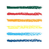 Set of colored pencil strips. Set of vector colorful brushes. Abstract hand drawn strokes. Stock Images
