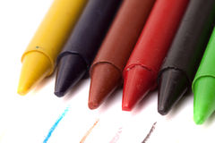 Set of colored pencils. On white background close Royalty Free Stock Photography