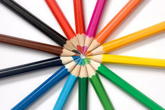 Set of colored pencils. On a white background Royalty Free Stock Images