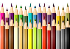 Set of colored pencils. Picture of a series of colored crayons stock illustration