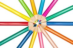 Set of colored pencils arranged in circle Royalty Free Stock Photo