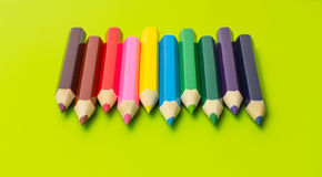 Set of colored pencils arranged in rainbow colors Stock Images