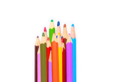 Set of colored pencils arranged vertically Royalty Free Stock Photography