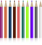 Set of colored pencils. Crayon bright, image colored yellow orange, row rainbow, tool wooden, vector graphic illustration royalty free illustration