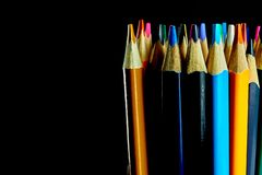 A set of colored pencils stock photo