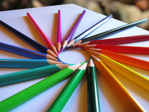 A set of colored pencils. In the form of a circle Royalty Free Stock Photography