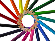 A set of colored pencils. In the form of a circle Stock Photo