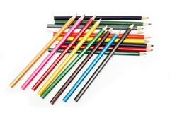 Set of colored pencils in a heap Royalty Free Stock Images