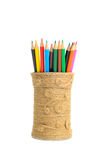 Set of colored pencils in a homemade vase Royalty Free Stock Photography