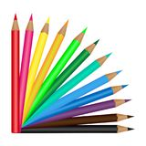 Set of 12 colored pencils isolated on a white background. Vector illustration. Set of 12 colored pencils isolated on a white background. Vector Royalty Free Stock Photo