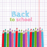 A set of colored pencils on notebook sheet into a cell. Vector illustration in cartoon style. Background on the school theme Royalty Free Stock Image