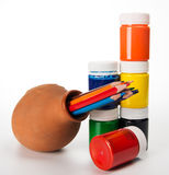 Set of colored pencils and paints for children's creativity in a Stock Images