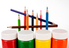 Set of colored pencils and paints for children's creativity Royalty Free Stock Photography