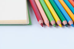 Set colored pencils on paper Royalty Free Stock Photo
