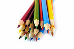 Set of colored pencils placed in random order Royalty Free Stock Image