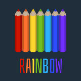 Set of colored pencils, the rainbow of colored pencils. Vector set of colored pencils, the rainbow of colored pencils Royalty Free Stock Photo