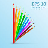 Set of colored pencils. Vector illustration. Color pencils concept. EPS 10. Realistic vector background Stock Images