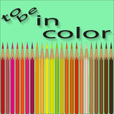 Set of colored pencils by warm colors Royalty Free Stock Image