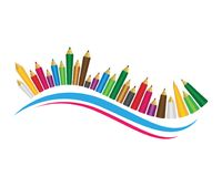 Set of colored pencils white background. Set of colored pencils on white background Royalty Free Stock Image
