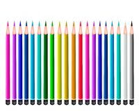 Set of Colored Pencils on White Background Royalty Free Stock Photo