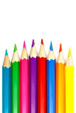 Set of colored pencils on a white background, convex arrangement Stock Photo