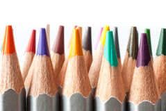 Set of colored pencils on a white background. Sharpened colored pencils. Stock Photos