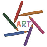 Set of colored pencils. With word Art Stock Image