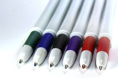A set of colored pens. Royalty Free Stock Images