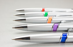 Set of colored pens on table Royalty Free Stock Image