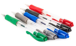 Set of colored pens. On white background royalty free stock photos