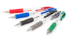 Set of colored pens. On white background stock image