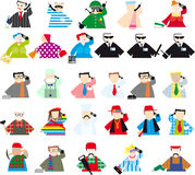 Set of colored People with phone. Set of colored people of different professions with phones Stock Illustration