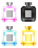 Set of colored perfume bottles. Pink, blue, yellow, and black perfume bottles Royalty Free Stock Images