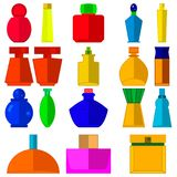 Set of cosmetics icons. Collection of perfume bottles with different, various shapes for woman on white background. stock illustration