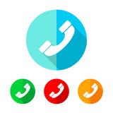 Set of colored phone icons. Vector illustration. Stock Photos