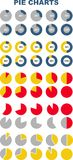 Set of colored pie charts. Infographic elements Royalty Free Stock Images
