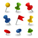 Set colored pins web elements Stock Photo
