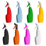Set of colored plastic bottles of detergent with nozzles for spraying Stock Images