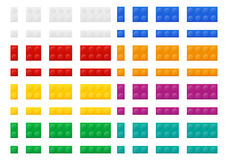 Set of colored plastic constructor top view vector illustration Royalty Free Stock Image