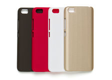 Set of colored plastic covers for smartphone Stock Photos