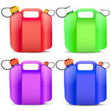 Set of colored plastic gasoline container Royalty Free Stock Image