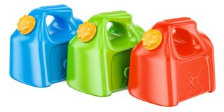 Set of colored plastic jerrycans, 3D rendering. Isolated on white background Stock Photography