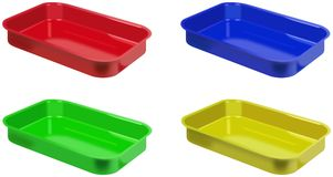 Set of colored plastic trays Stock Photography