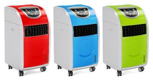 Set of colored portable air conditioners, 3D rendering Stock Image