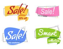 Set Colored promotion banners. flat bubble shaped sticker, label. Set Flat linear Colored promotion banners. flat bubble shaped sticker, label, ribbon. Vector royalty free illustration