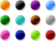 Set of colored push buttons Stock Image